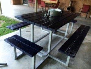 Picnic Table - Cowboy Blue & Silver